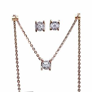 SI/H Diamond 18K rose Gold AU750 lovely square earring stud pendant w/necklace