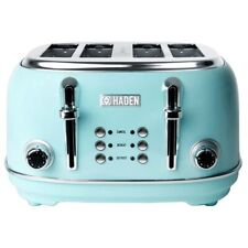 Haden Heritage 4-Slice Wide Slot Stainless Steel Toaster, Turquoise (Open Box)