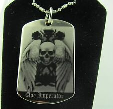 HALLOWEEN AVE IMPERATOR SKULL WITH WINGS  Dog Tag Pendant Necklace