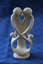 Abstract Sandstone Family of 4 with 2 children Carving figure Beige 8in x 4in