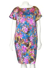 318107bf80160 *PRICE REDUCED* St John Knits Teal Blue Cherry Blossoms Silk Shift Dress 10  SP14