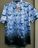 Mens Star Wars Millennium Falcon Hawaiian Tropical ombre Blue Shirt S, M Box M