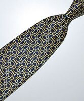 "Dunhill Mans Tie in Smooth Printed Silk 58""  Navy Yellow Bits Stirrups Buckles"