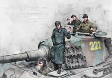 1:35 German Soldiers, King Tiger Crew, Ardennes, Resin Model Kit, 3 Figures WWII