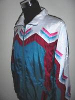 vintage 80`s Nylon Jacke Sportjacke glanz shiny track jacket 80er oldschool L