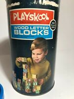 Vintage 1970s Playskool Wood Letter Blocks Complete Set!  In awesome condition!