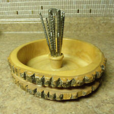 Large Vintage Ellwood Rusticware Wood Tree Bark Nut Bowl HMQ Nutcracker 6 picks