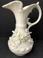 Vintage Irish Belleek Pitcher/Ewer w/Applied Flowers 7th Mark Ivory color