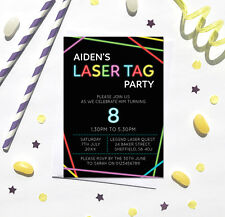 Laser Tag Birthday Party Invitations *Any Age* - pack of 10 with envelopes