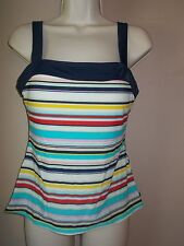 Nautica Womens Striped Tankini Top Sewn in Soft Cup Pads in Shelf Bra