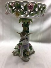 """1930s Von Schierholz Porcelain Compote - Cherub Playing Flute - 10"""" - Germany"""