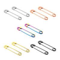 1 Pair Fashion Safety Pin Earrings Big Hoop Stainless Steel Piercing Eardrop