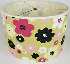 "New Drum Lamp Shade 15"" Dia 10"" H Contemporary Kids Floral Fabric"