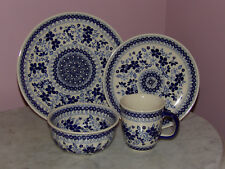 Polish Pottery UNIKAT 16 PC Dinnerware Set!  Rembrandt in Blue!