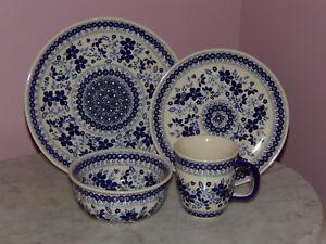 Polish Pottery 16 PC Dinnerware Set! UNIKAT Signature Rembrandt in Blue!