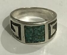 Native American Indian Jewelry Sterling Silver Turquoise Ring, Size 7.25