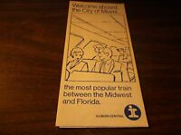 1960's ILLINOIS CENTRAL RAILROAD CITY OF MIAMI PASSENGER TRAIN BROCHURE