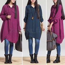 Women Long Sleeve Baggy Loose Retro T-shirt Tops Blouse Button Maxi Shirt Dress