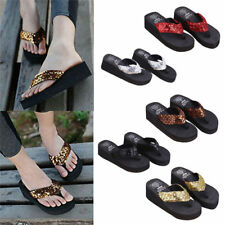 Summer Women Wedge Sandals Sequin Thong Flip Flops Platform Casual Slippers