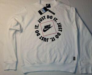 New Nike Men's Just Do It Fleece Sweatshirt (Black/White) Size Medium FREE SHIP!