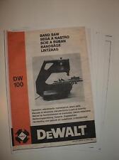 Copy of my original Dewalt DW100 Bandsaw/Sander Manual