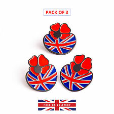 3 * Poppy Pin Badge Remembrance Day Enamel Metal Brooch with British Flag