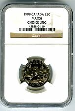 1999 CANADA 25 CENT NGC CHOICE UNC MARCH - THE LOG DRIVE - QUARTER RARE