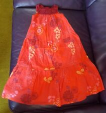 Vertbaudet Girls long red cotton summer  dress 4Y 102cm