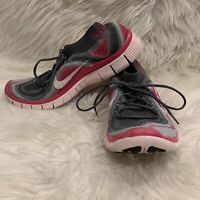 Nike Free 5.0 Flyknit Women's Running Gym Shoes Gray Pink White Size 8.5