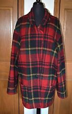 VTG Women's Wool Plaid Field Coat Jacket FRENCH COUNTRY EXPRESS EUC 2XL