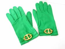 Authentic Hermes Leather Gloves Women Size 7 Chaine D'Ancre Green M719