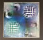 """Victor Vasarely """"FENY"""" Mounted Offset Color Lithograph 1974"""