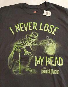 Disney Parks Haunted Mansion Hatbox Ghost Glow in Dark T-Shirt Sz Adult L NWT