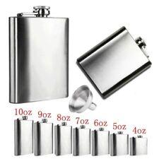 4-18oz Stainless Steel Pocket Hip Flask Whiskey Liquor Screw Cap + Funnel Silver