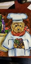 "Original Canvas Painting Yorkie Chef 11""×14"""