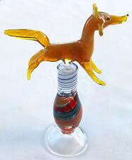 Hand Blown Art Glass Perfume Bottle w/ Figural Fox topper Signed Kostick