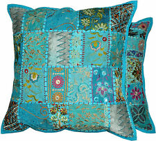 2pc Blue Indian Bohemian Pillow Patchwork Pillow Indian Cushion Throw Pillows