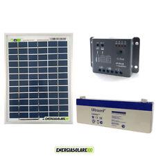 Kit Starter Solare pannello 5W 12V Poli batteria 2.4Ah Regolatore PWM 5A