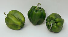 3 Designer One Artificial Faux Fake Artificial Green Bell Pepper Vegetable
