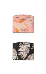 Kate Spade Card Holder Spencer Falling Flower Card Holder Wallet Case Black Pink