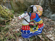 Japanese antique clay doll Samurai wearing armor riding a horse #a4