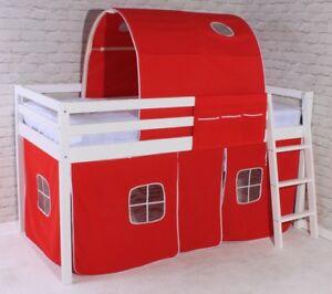 Wooden White Cabin Loft Mid Sleeper Bed 3Ft Single Bunk New Pine Red Kids Boys
