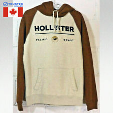 HOLLISTER Hoodie Pacific Coast Mens Size M Soft Brown Bone Color Nice! A9