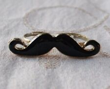 Black Handlebar Mustache Double Ring Adjustable Knuckle Band Blk/Gld Indie Hips