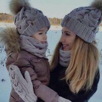 2PCS Women Kids Baby Mom Warm Winter Knit Beanie Fur Pom Pom Cap Crochet Ski Hat