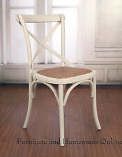 6 x Dining Chairs French Provincial Birch Cross Back Antique White Cafe Seat