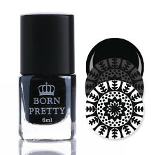 Born Pretty Nail Art Stamping Polish Template Painting Varnish Black White Gold