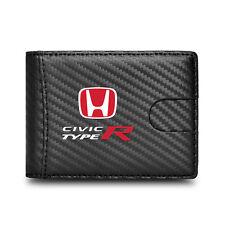 Honda Civic Type-R Black Slim Leather Carbon Fiber Patterns RFID Blocking Wallet