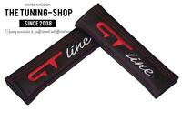 "2x Seat Belt Covers Pads Black Leather ""GT line"" Red Embroidery"