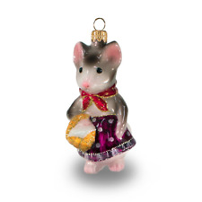 Mouse with basket - 2020 Year Symbol - Christmas tree glass ornament